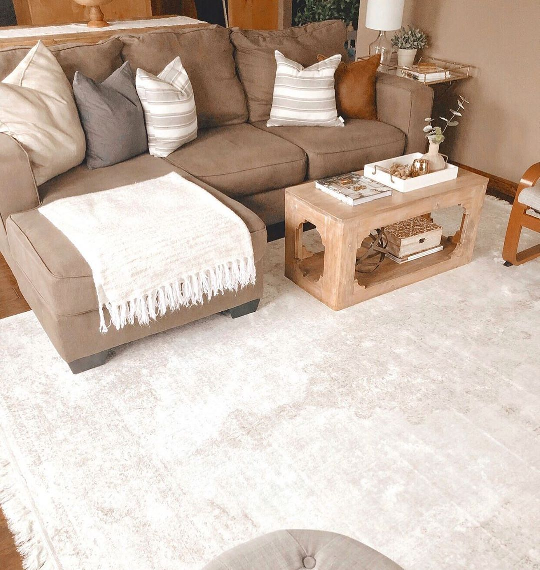 The New Rug Is Down And I Love It In Here It Really Brightens Up This Space While Tying In The Taupe Couch Taupe Couch Couches Living Room Living Room Designs #taupe #couch #living #room #ideas