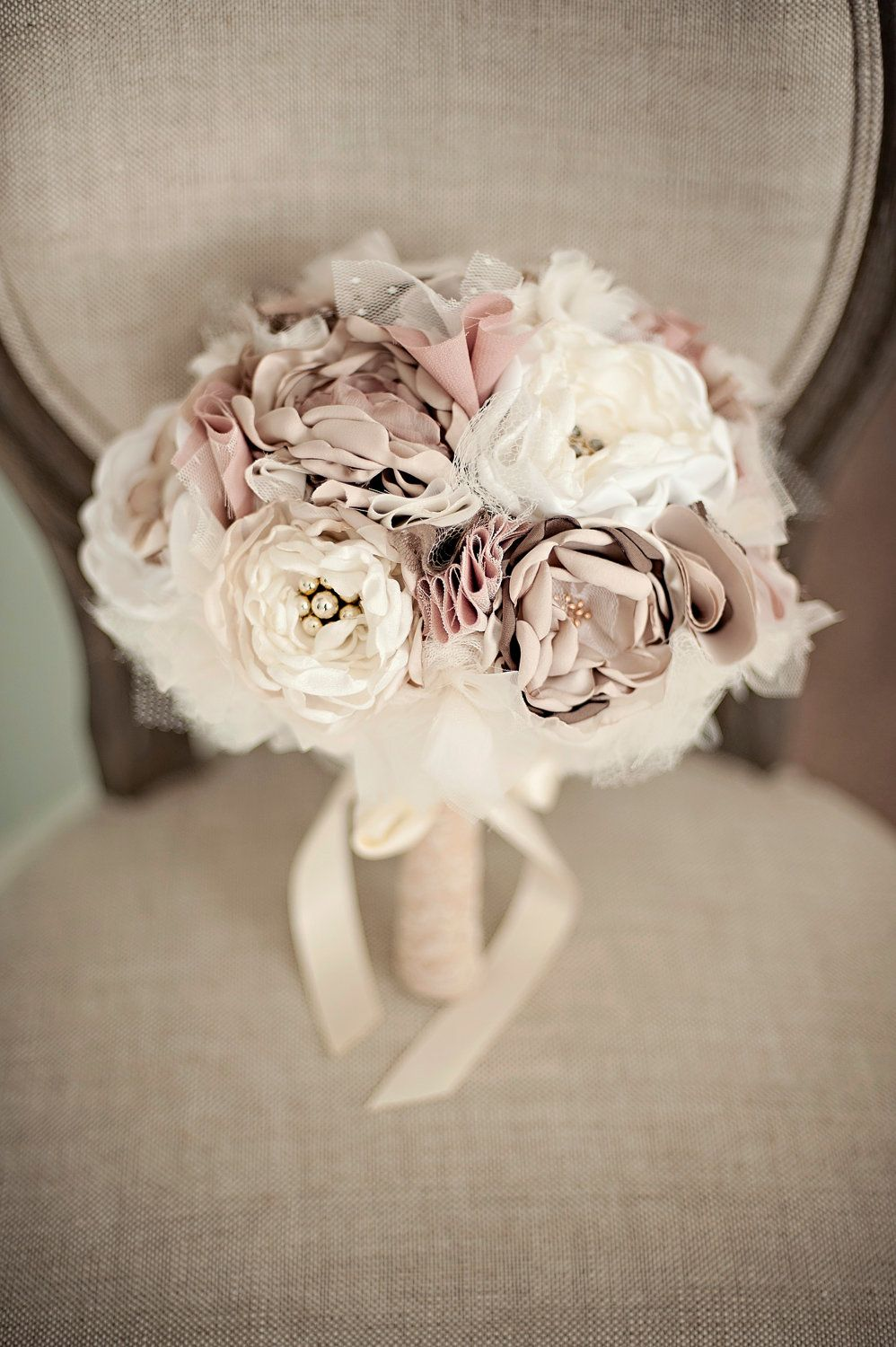 Fabric Flower Custom Wedding Bouquet Champagne Dusty Rose Ivory With Pearls Lace