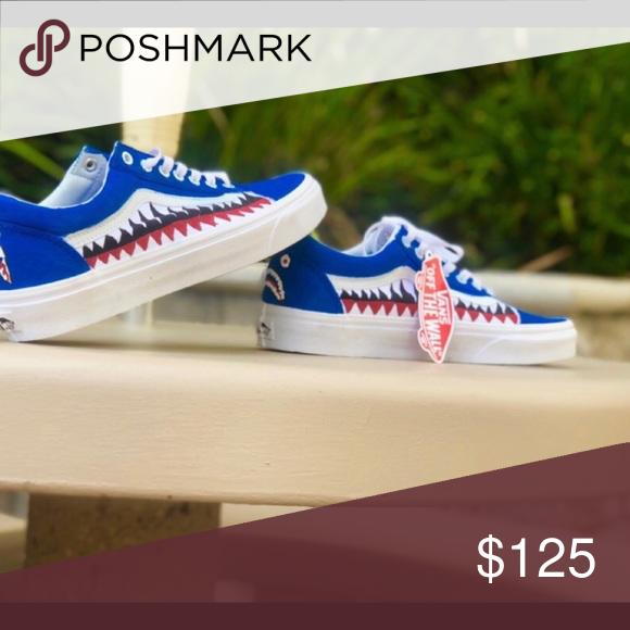 f46cfd9e8423 Custom shoes (Bape Vans) Custom shoes (Vans) Blue   Bape design All ...