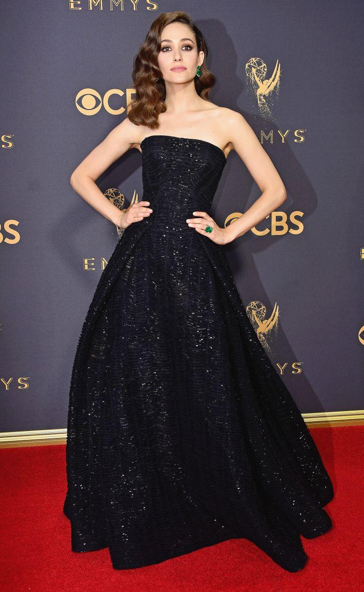 The emmysu most gorgeous gowns emmy rossum lorraine schwartz and