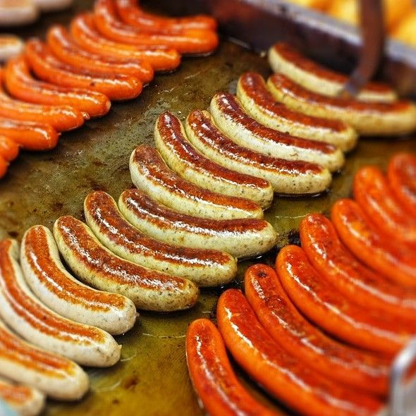 Pork bratwurst lined up at oktoberfest in munich or should we say food publicscrutiny Image collections