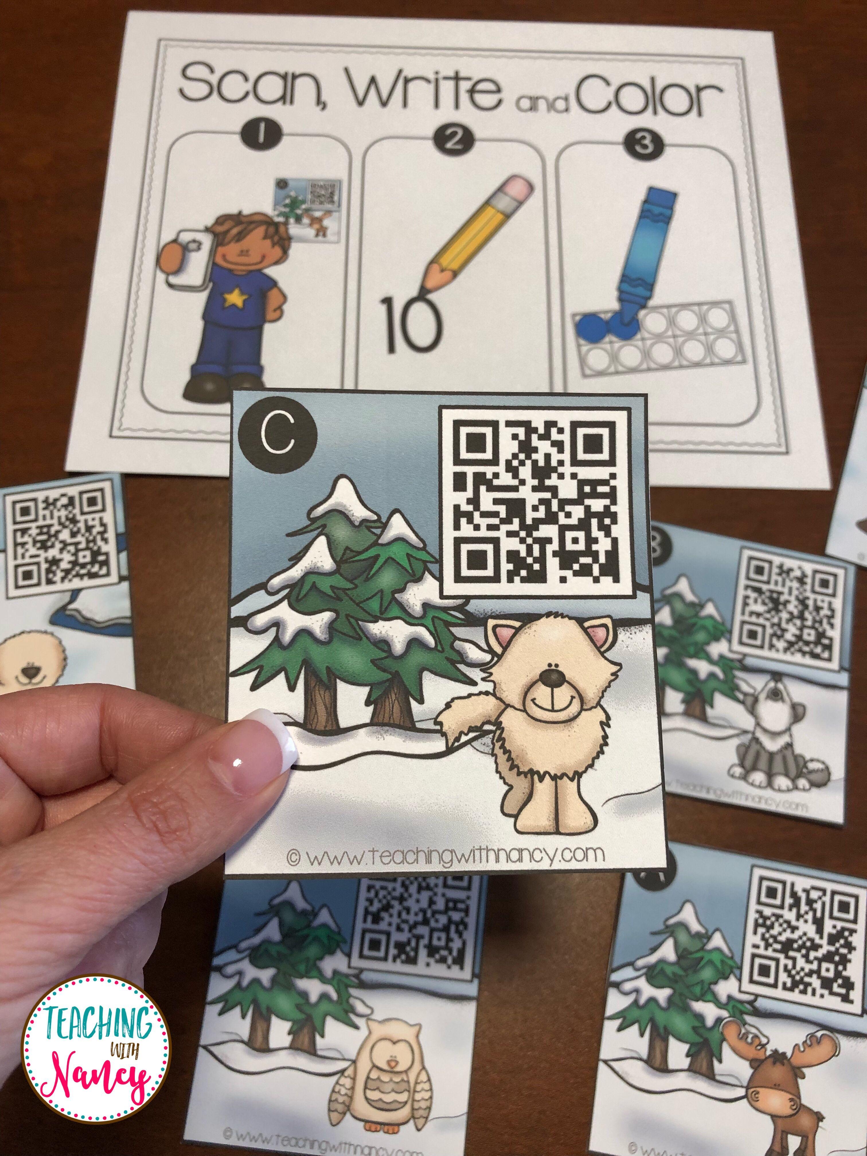 Arctic Animals Kindergarten Math Stations Qrcodes