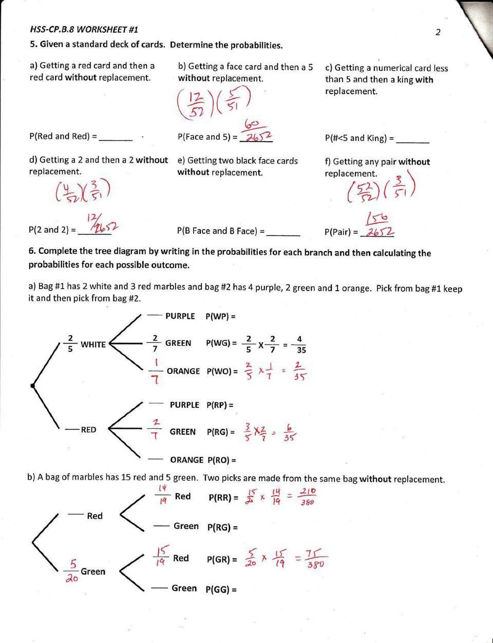Probability Worksheet 4 Answer Key - worksheet