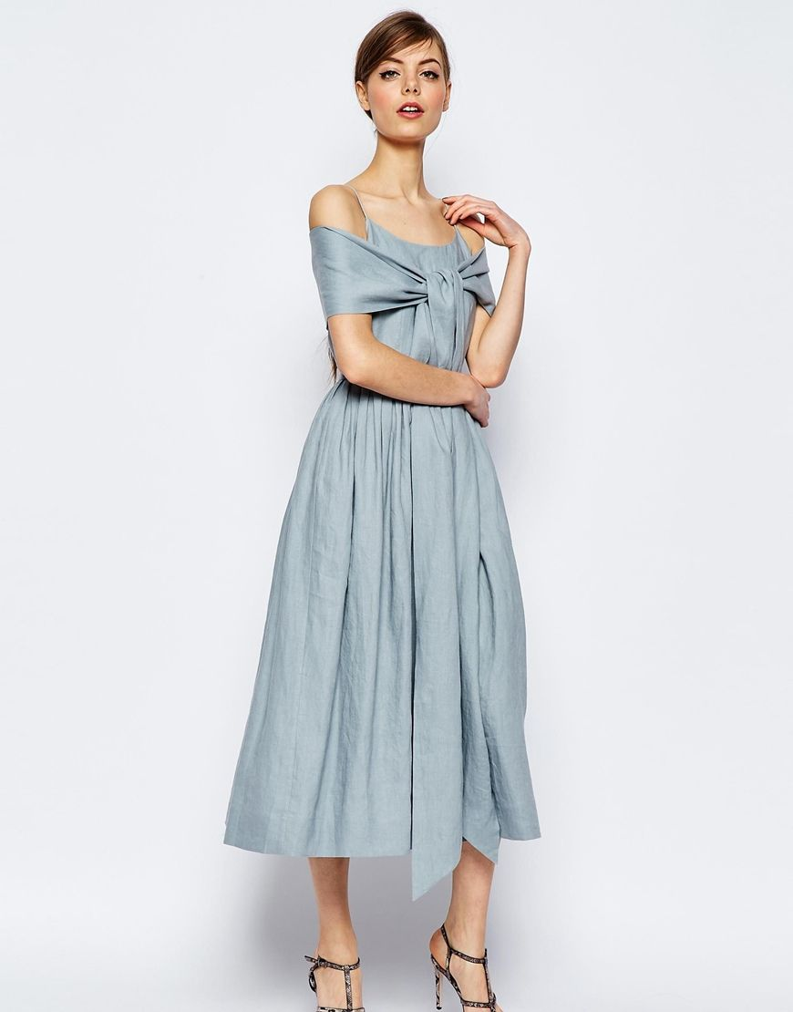 Image 1 of ASOS Linen Multiway Debuatante Midi Prom Dress | Want ...