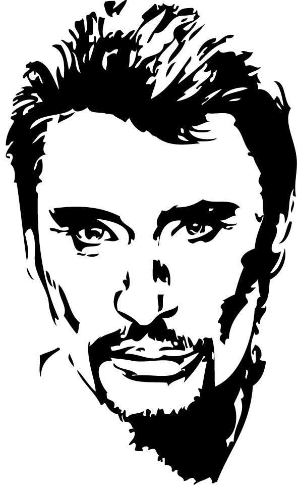 Stickers Johnny Hallyday 02 Tatoo Pochoir Silhouette