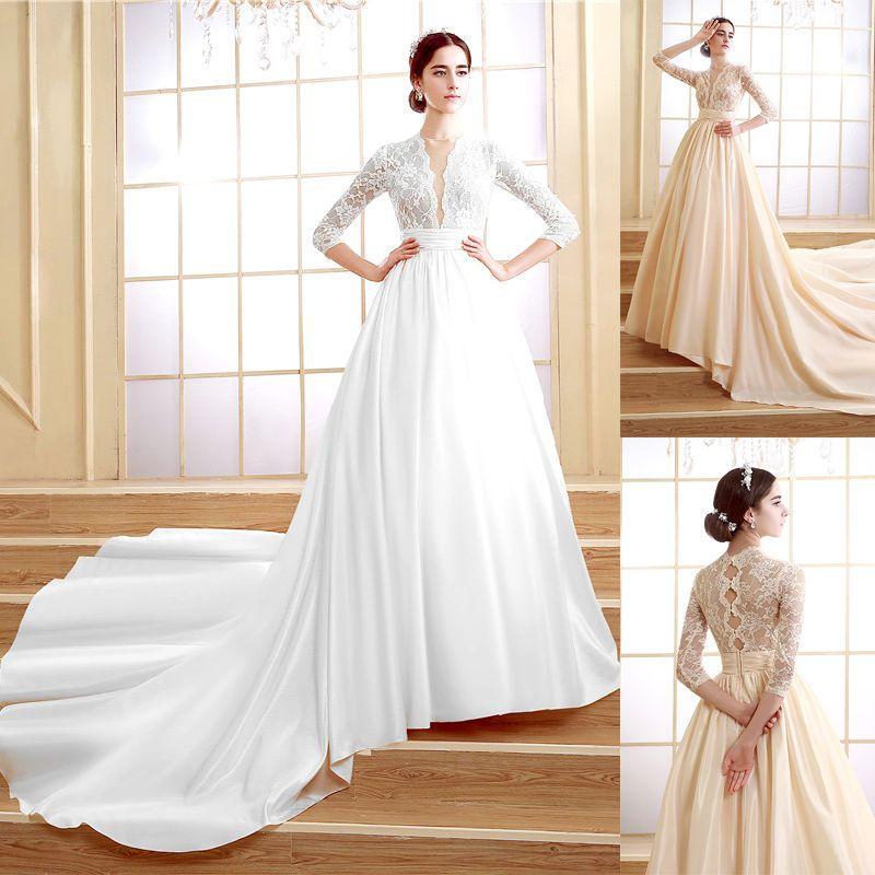 White/Champagne Long Sleeve Lace Wedding Dresses Plus Size Vintage ...