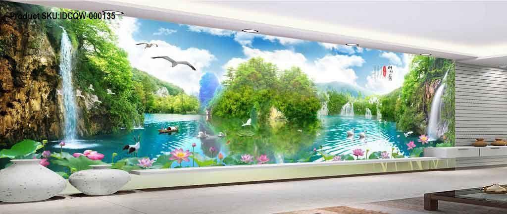 3D Wallterfall Lake View Entire Room Wallpaper Wall Murals Art