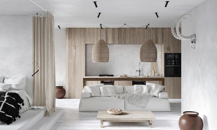 Ethno Stil Wohnen Wohnzimmer Küche Holzfronten weißes Sofa Bett mit