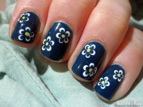 Easy Nails Art Design Using A Toothpick Simple Flower Nail