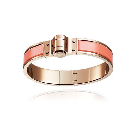 Hermes narrow hinged bracelet in plain enamel (size S) Rose gold plated  hardware,