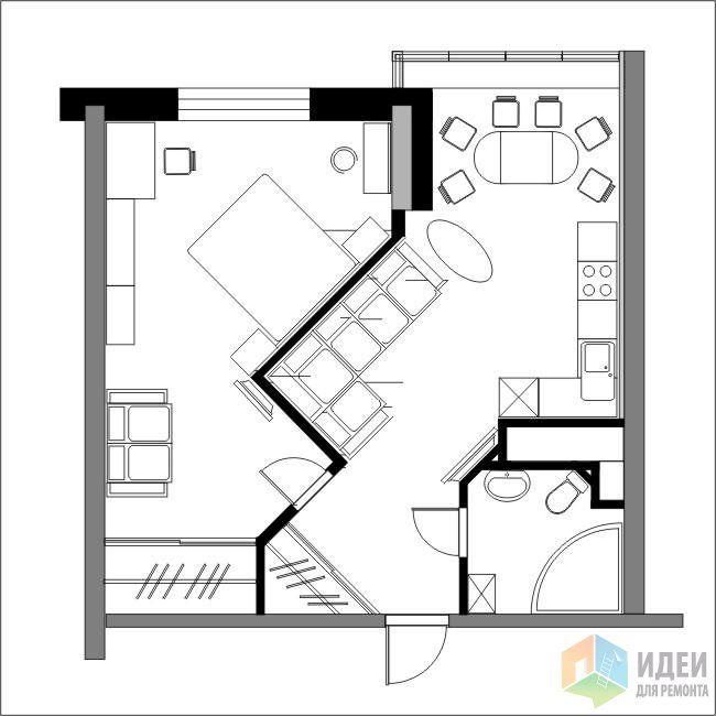 Перепланировка однокомнатной квартиры в многофункциональное пространство.