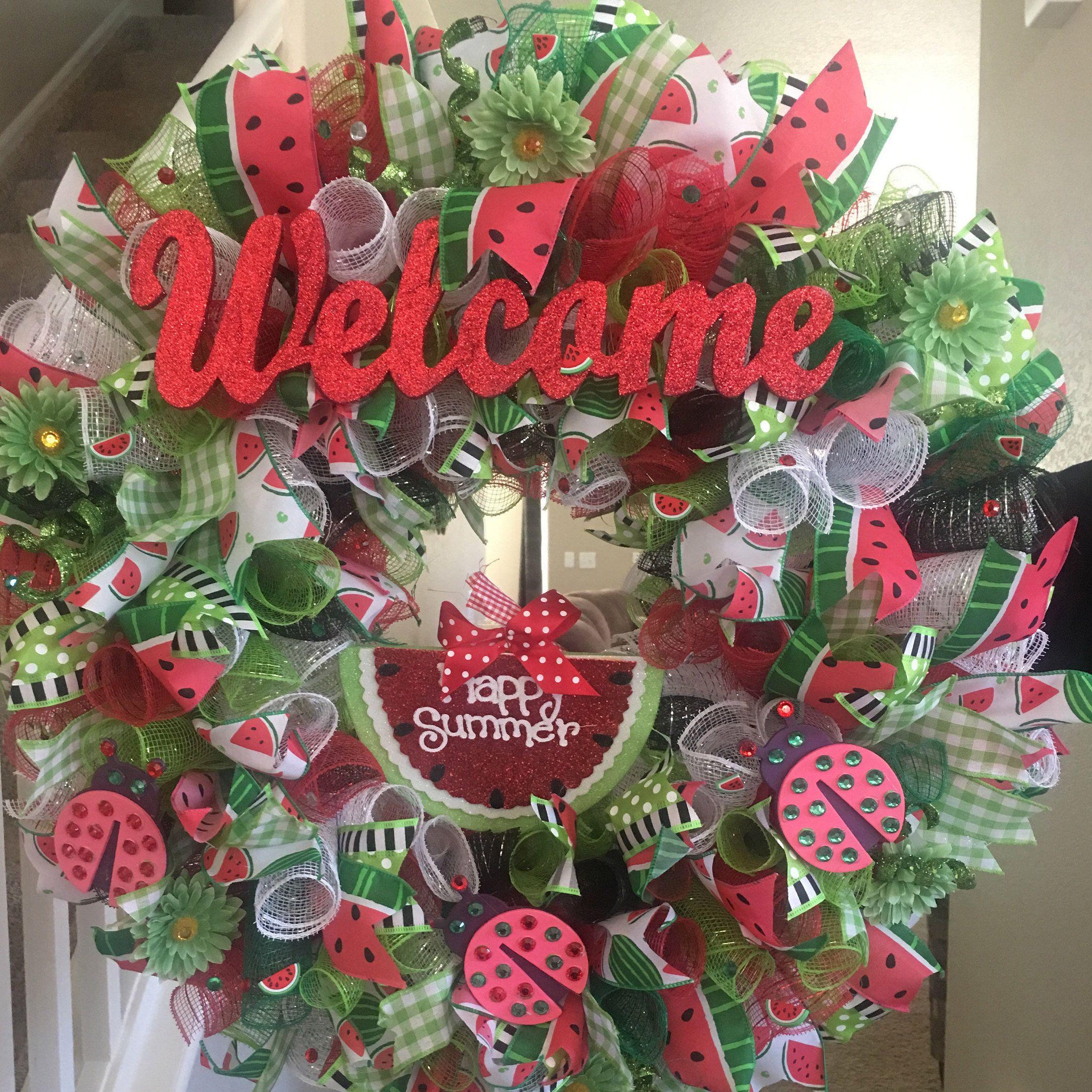 Watermelon Welcome Wreath By Allmeshedupdesignz On Etsy Httpswwwetsycom