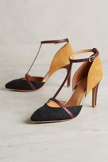 Seychelles Mixed Media T-Strap Heels Shoes Tan Size 9 New