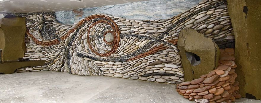 Stone Wall Art artist couple creates gorgeous stone wall art installations