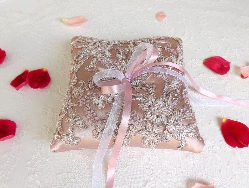 Antique pink chiffon flower wedding ring bearer pillow