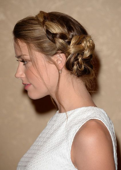Amber Heard Braided Bun #braidedbuns
