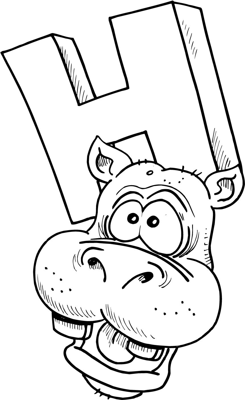 colouring page of letter h with a hippo | School - Africa | Pinterest