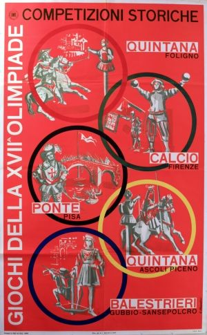 XVII Rome Olympics Historic Games, 1960 - original vintage poster by A Alessandrini listed on AntikBar.co.uk