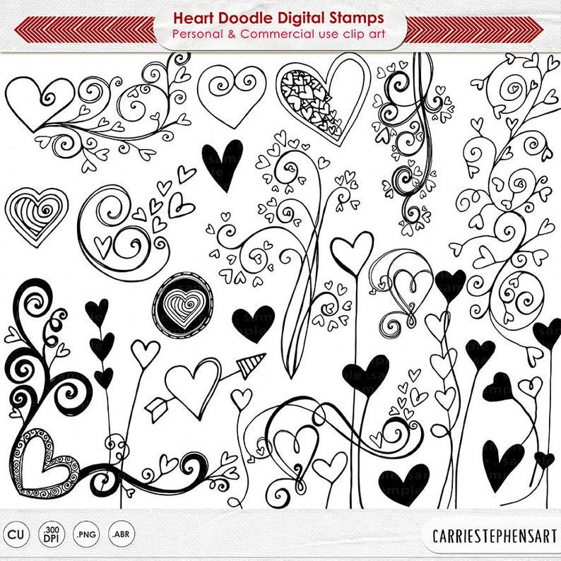 Heart Doodles Clipart Png Printable Valentine Graphics Etsy In 2021 Heart Doodle Heart Clip Art Valentine Hearts Art