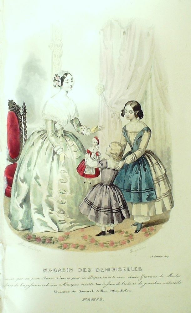 GRAVURE de MODE AUTHENTIQUE-F198-MAGASIN DEMOISELLES-ROBES DE BAL-1849