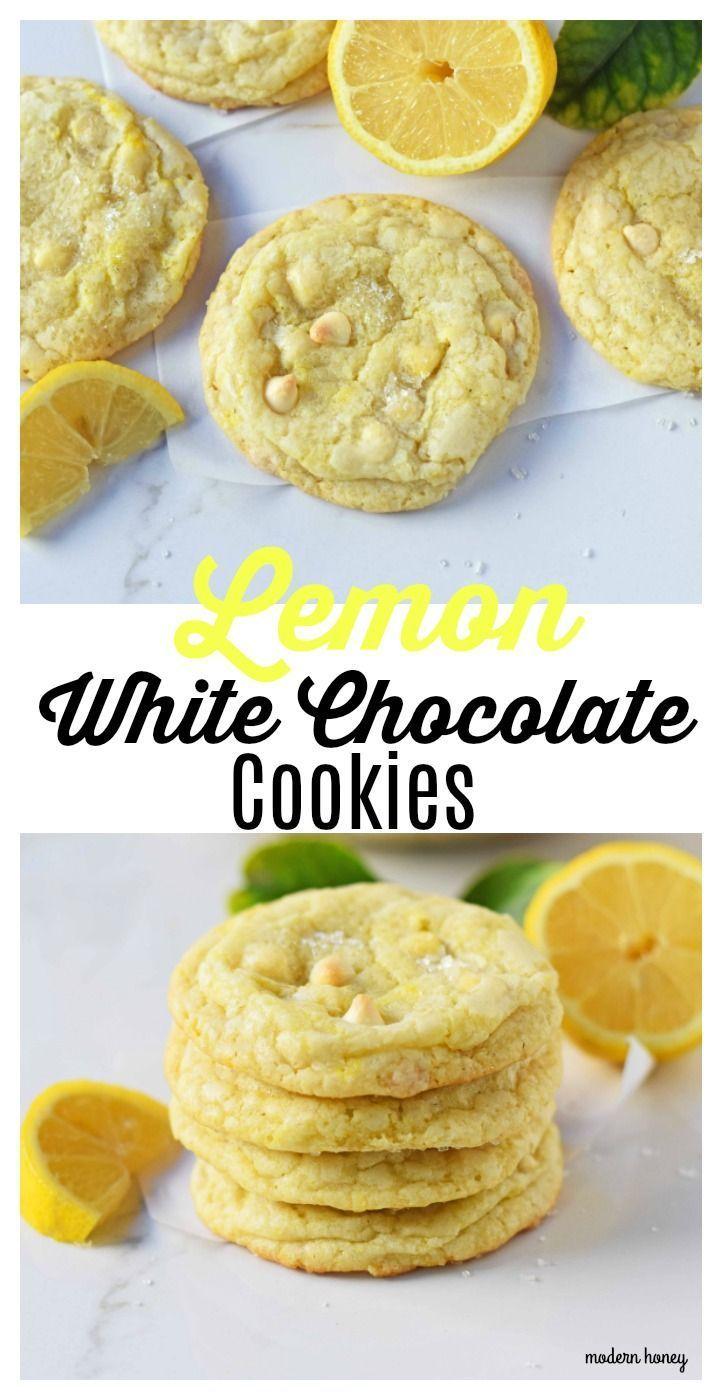 Lemon White Chocolate Chip Cookies. Soft and chewy lemon sugar cookies with white chocolate chips. White Chocolate Lemon Cookies Recipe. www.modernhoney.com #chocolatechipcookies