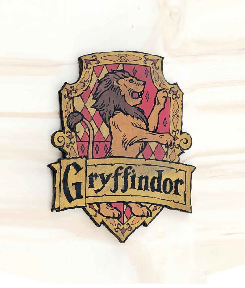 Harry Potter Inspired Gryffindor House Crest Wooden Cutout Etsy Harry Potter Wall Decor Harry Potter Wall Gryffindor