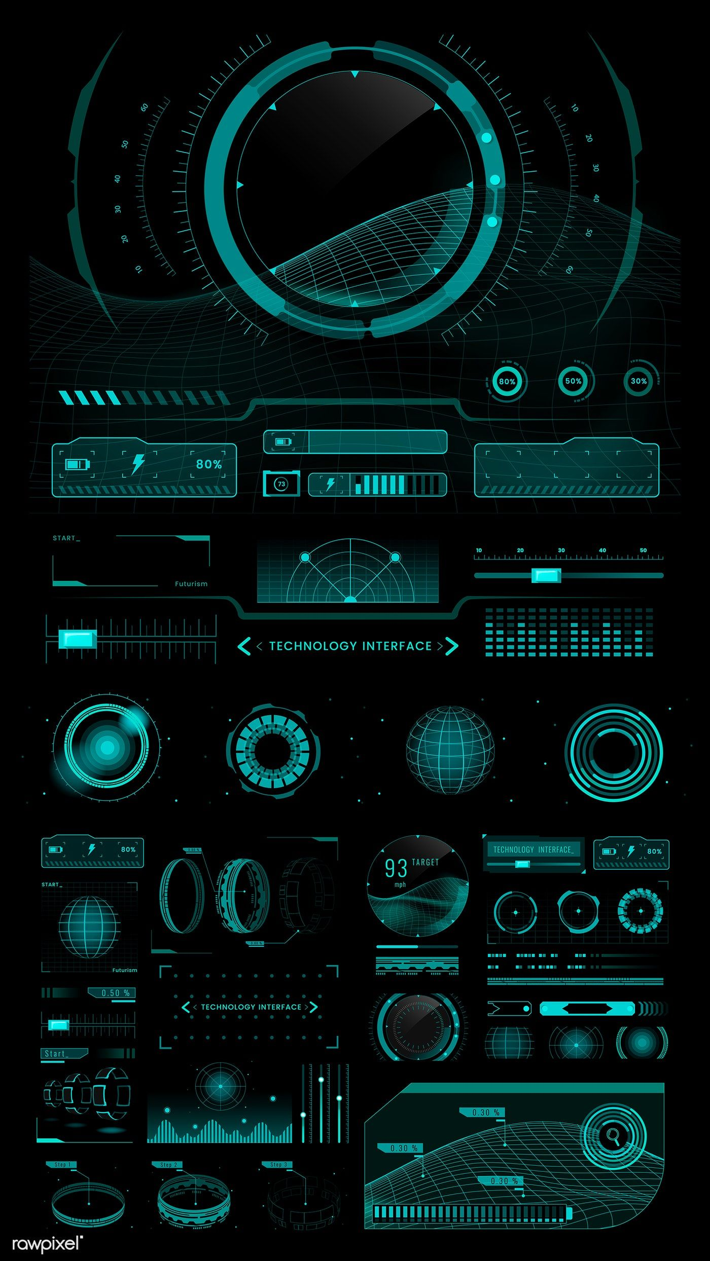 Download premium vector of Technology interface template design elements