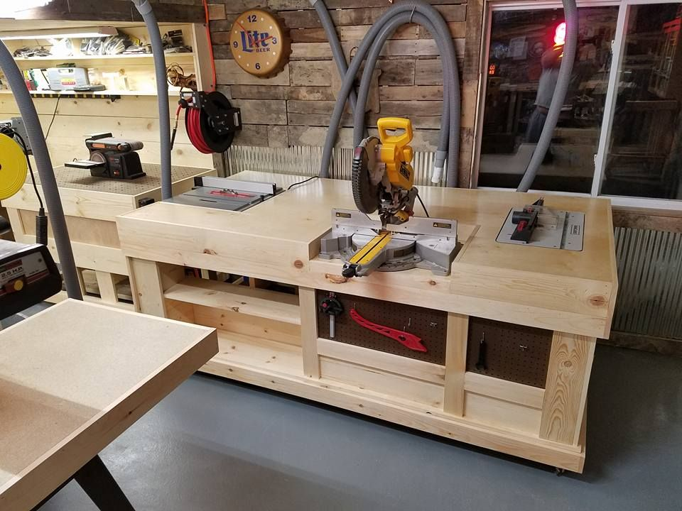 Custom built downdraft table and workstations enhance woodshops goetz custom made multi functional workstation encompasses his table saw miter saw and router table greentooth Image collections