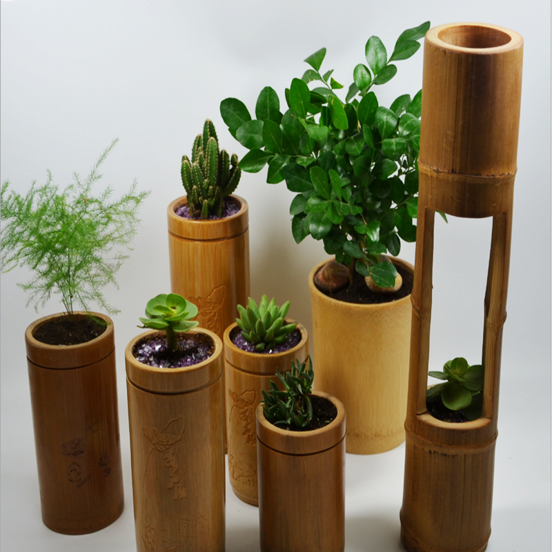 Manufacturers Professional Customized Bamboo Green Flower Pot Vase Home Decoration