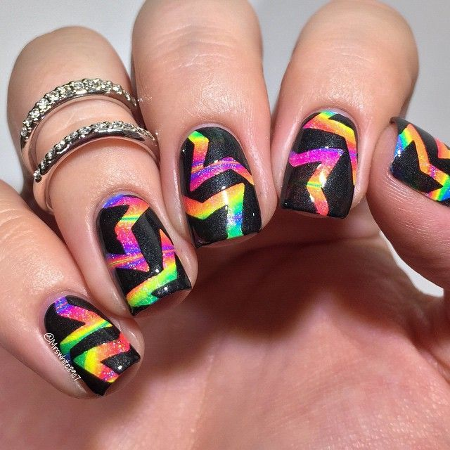 Rainbow Watermarble Nails With Stars
