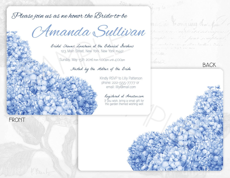 hydrangea bridal shower invitation blue hydrangea shower