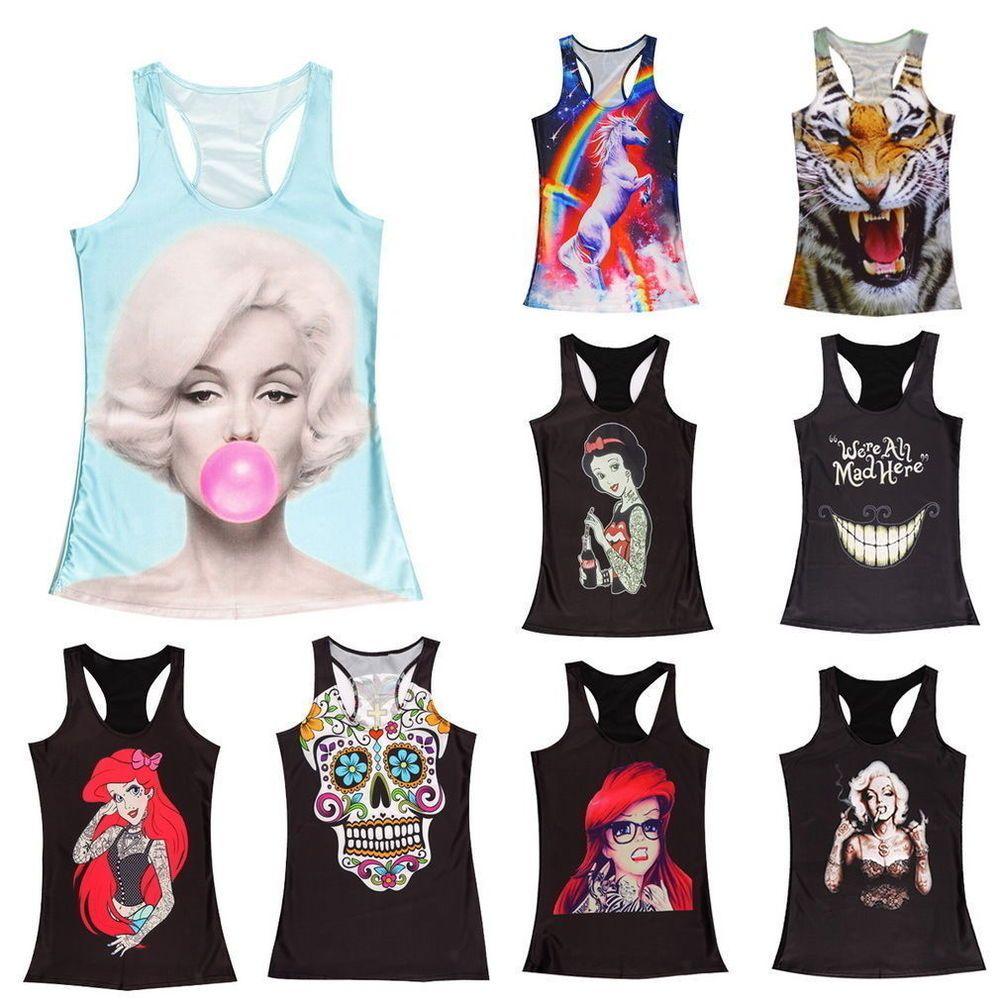 4af9f301db2d Women's Singlet Racerback Vest Tank Tops Sretchy Blouse Gothic Punk Rock  T-Shirt #Unbranded #TankCami