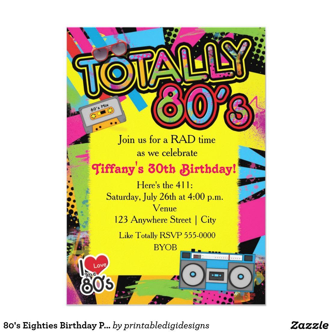 80\'s Eighties Birthday Party Retro Invitation   Birthdays and 80s party