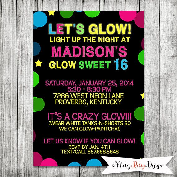 neon blacklight sweet 16 birthday party 5x7 by cherryberrydesign, Party invitations
