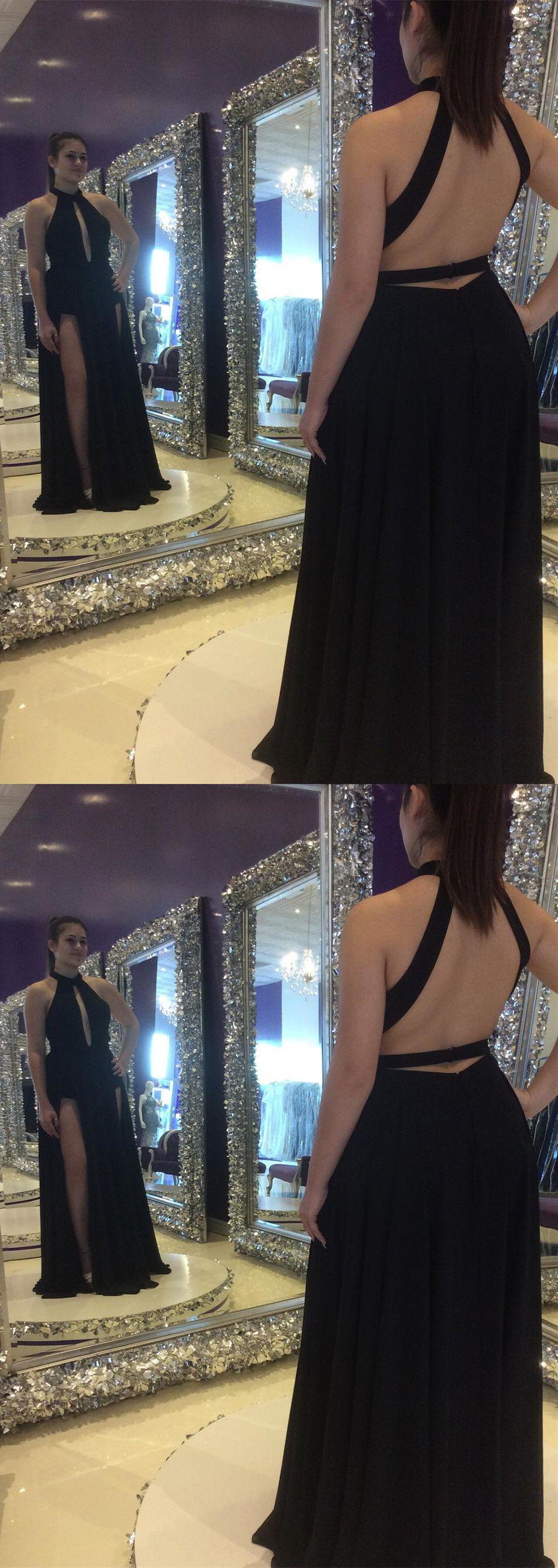 Gorgeous black chiffon long prom dress prom dress prom dress