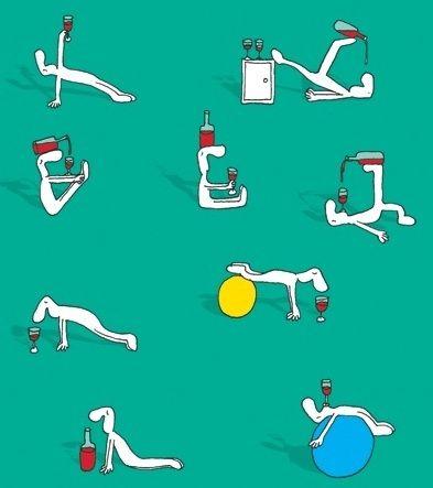 pilates para os amantes de vinho  anúncios engraçados