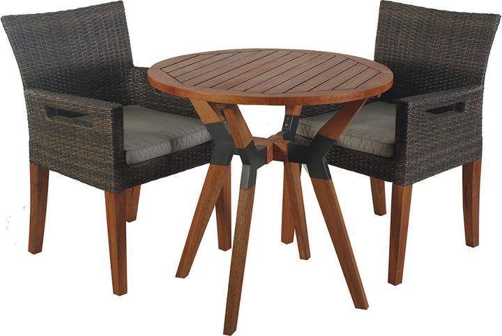Outdoor Interiors 3pc Eucalyptus Metal Bistro Set With Wicker Arm Chairs