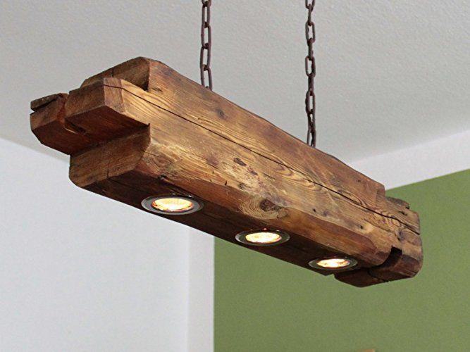 Deckenlampe aus altem Holzbalken inkl. LEDs   Светильники