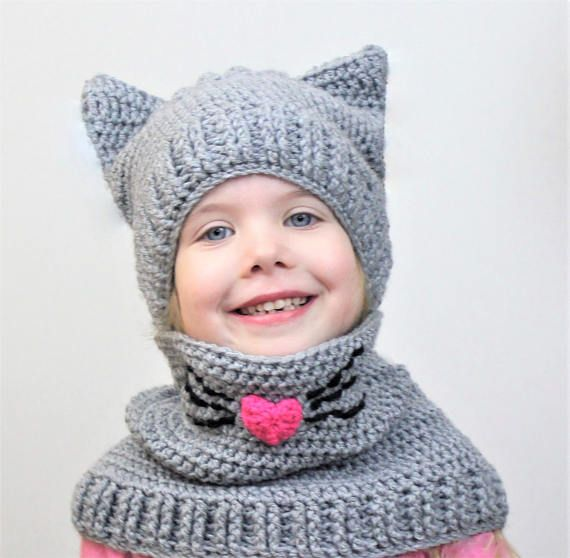 Crochet pattern pdf, Patron crochet, Corey CAT SET / Set hat+cowl ...