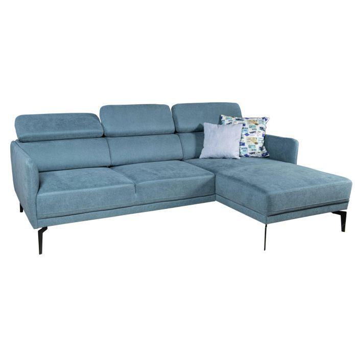 Klassische Rundecke zum Entspannen - Sofa mit blauem Stoffbezug