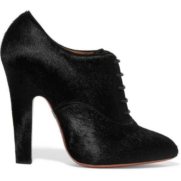 Alaïa Calf hair ankle boots (36,180 INR) ❤ liked on Polyvore featuring shoes, boots, ankle booties, black, high heel booties, black lace up boots, lace up booties, black lace up ankle booties and black high heel boots