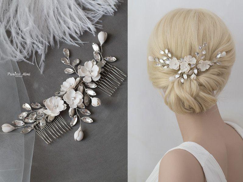 Braut haarschmuck spitze  Braut Haarschmuck Blüten Perlen Haarkamm Hochzeit | Haarkamm ...