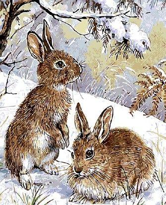 Картина по номерам Номерашка (Paintboy) «кролики на снегу ...