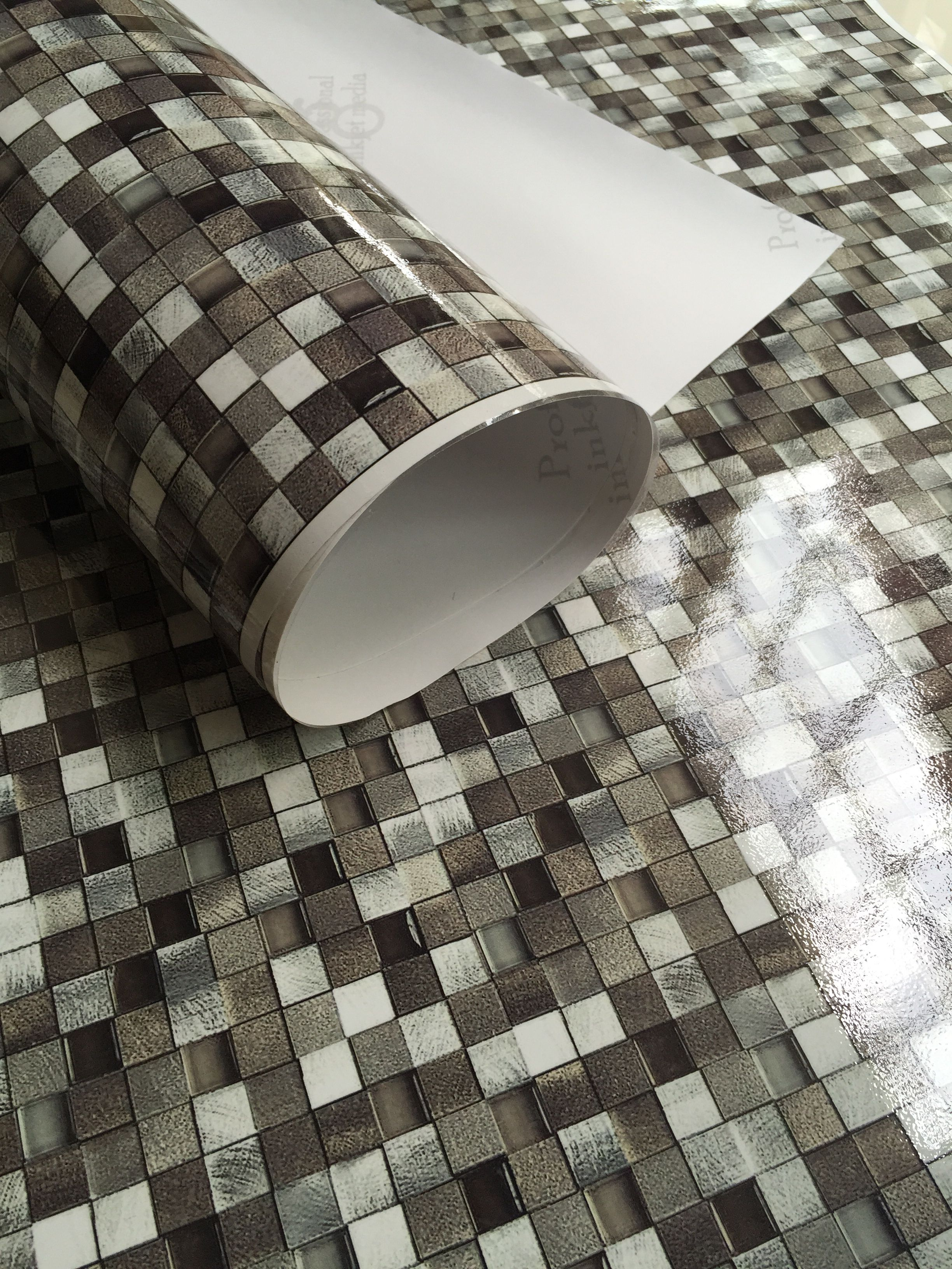 Peel and stick mosaic tile vinyl wallpaper. Waterproof