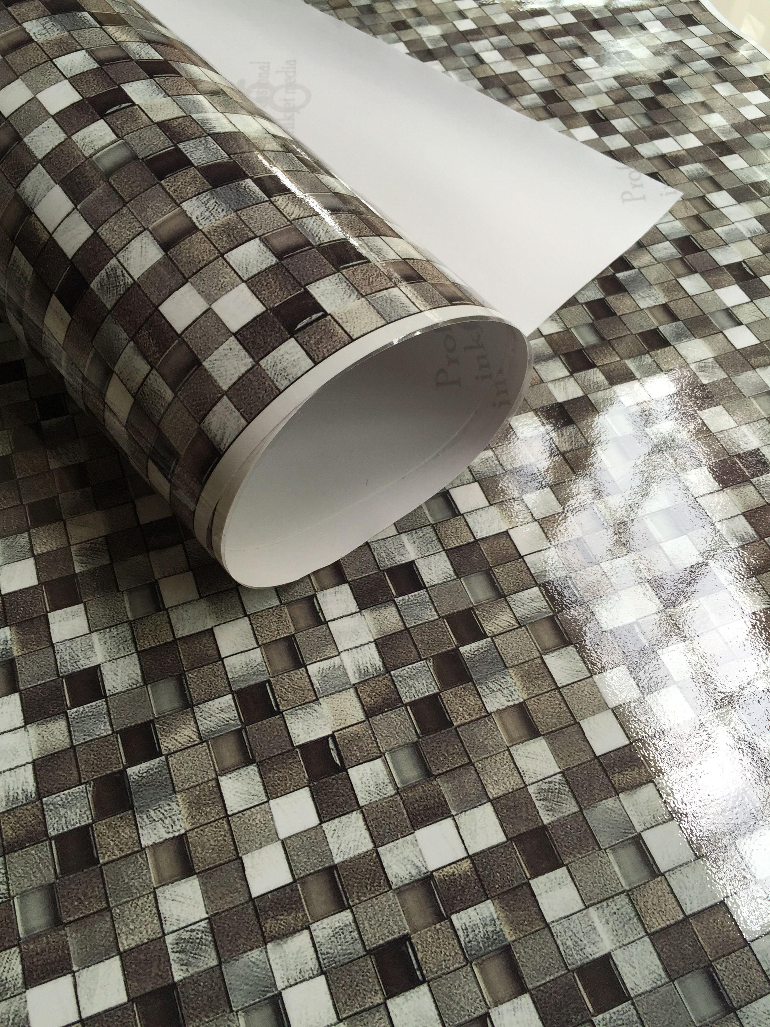 Peel and stick mosaic tile vinyl wallpaper. Waterproof