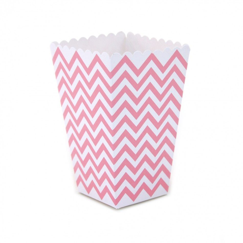 Bubblegum Pink Chevron Popcorn Boxes [DMC53551] : Wholesale Wedding ...