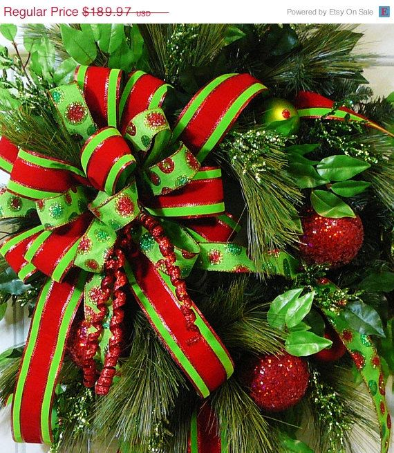 SALE Save 20% CHRISTMAS DOOR Wreath with Wired by LadybugWreaths