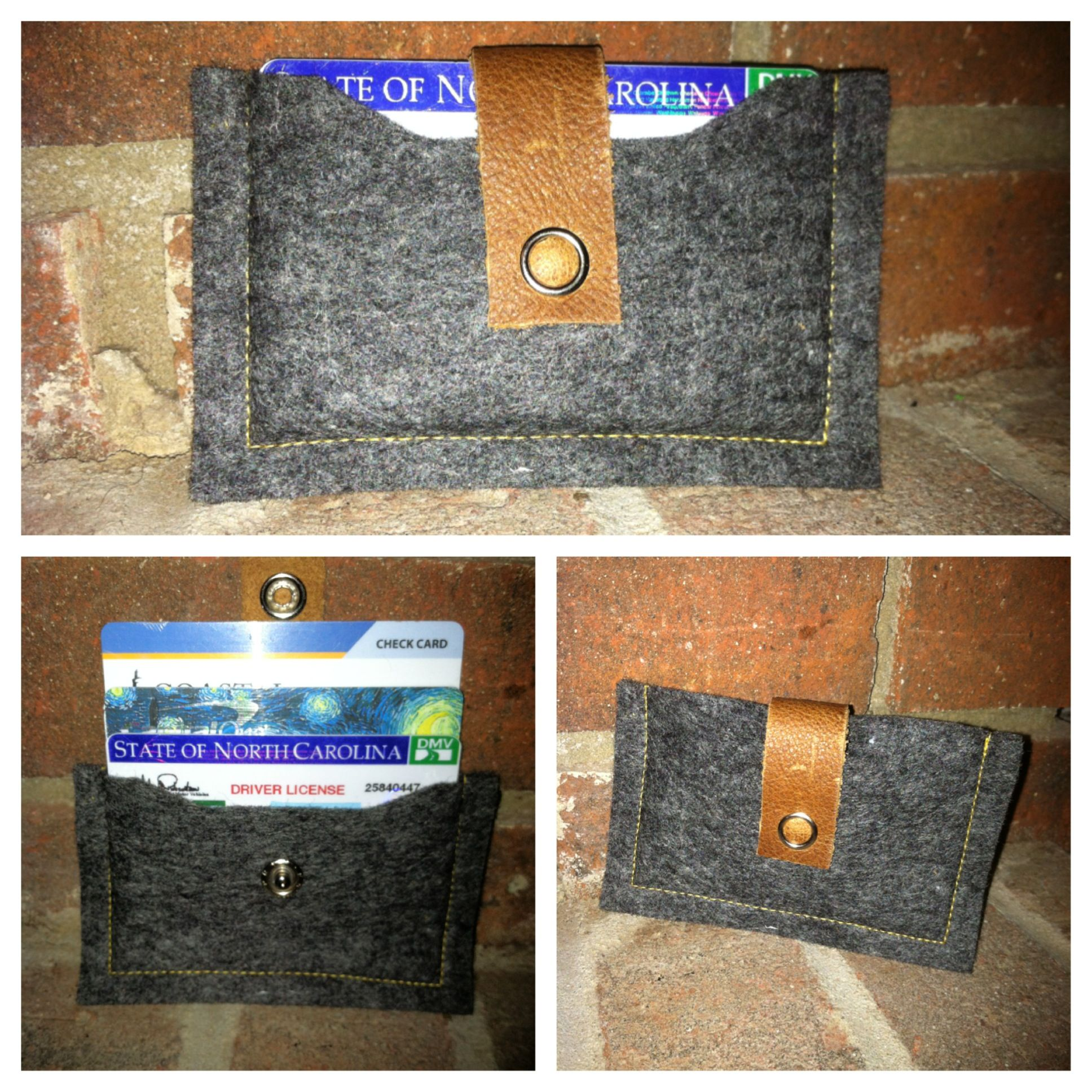 Felt and leather wallet 15 holds 5 credit cardsids