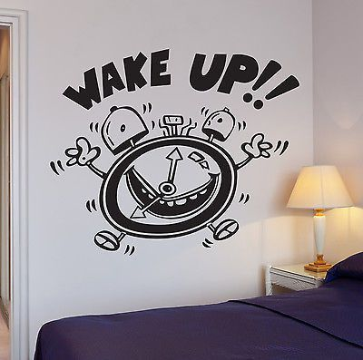 Wall Stickers Wake Up Alarm Clock Decor for Bedroom Kids Room Vinyl Decal (i898)