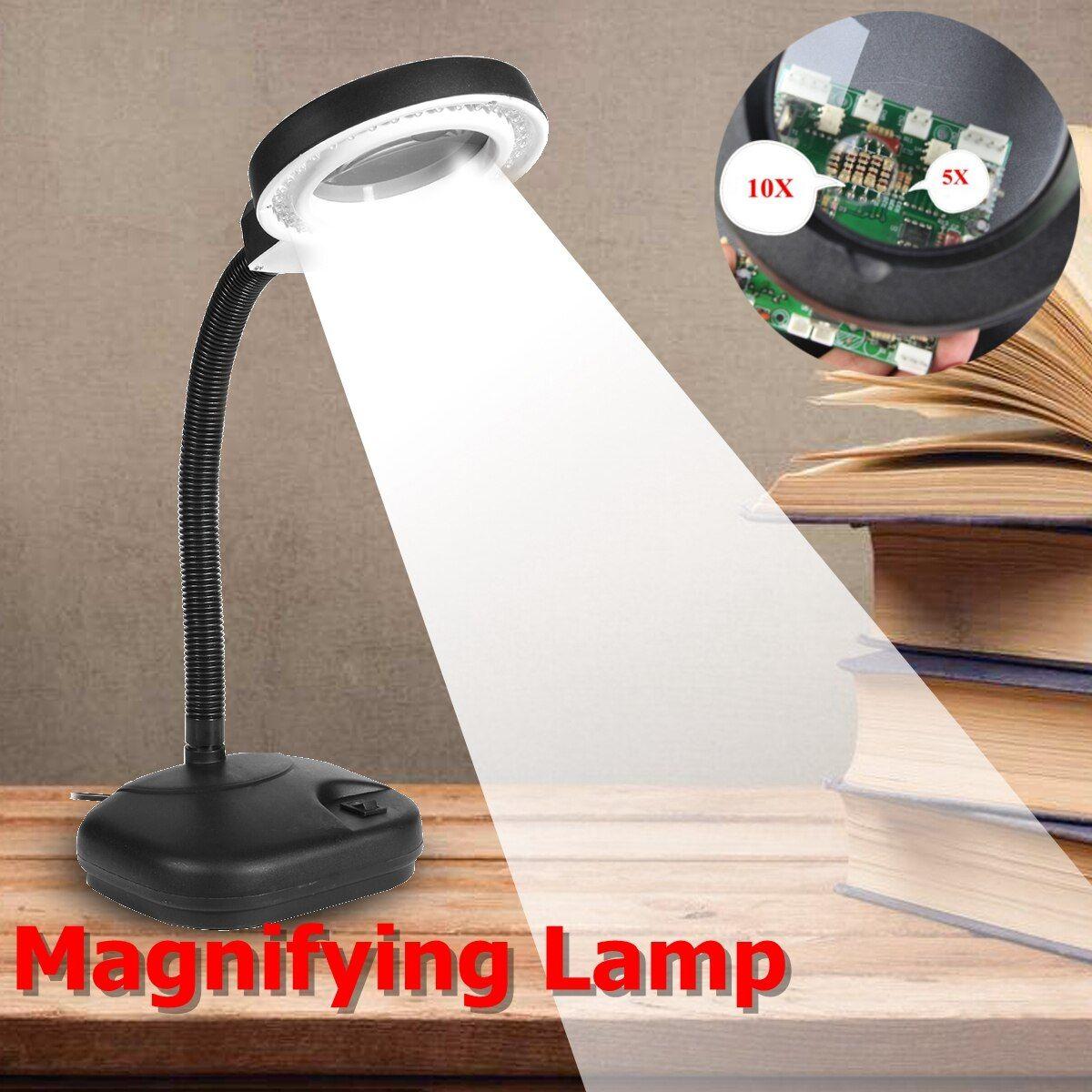 Zeast 5x 10x Magnifier Led Desk Light Daylight Craft Glass Table Lamp 36 Led Multi Function Desktop In 2020 Magnifying Desk Lamp Led Desk Lighting Table Lamp